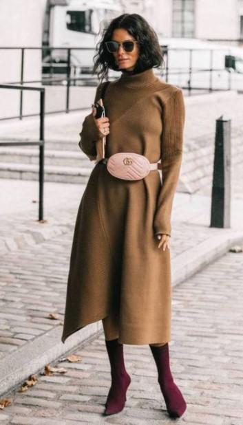 μίντι πλεκτό μπεζ φόρεμα
