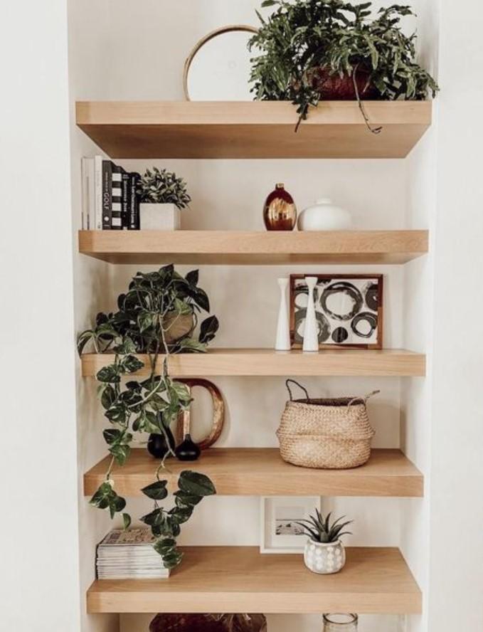 διακόσμηση ραφιού με μικρά φυτά