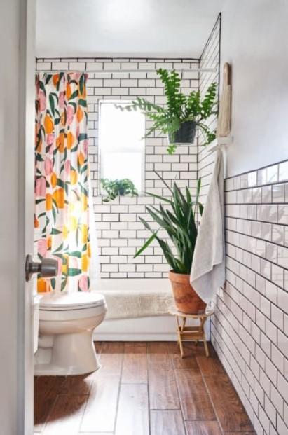 μπάνιο φυτά ζωηρή κουρτίνα ανανεώσεις μπάνιο