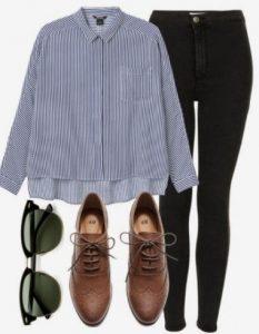 skinny τζιν με πουκάμισο και oxfords
