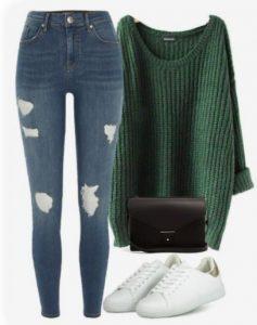 skinny τζιν με πουλόβερ και αθλητικα