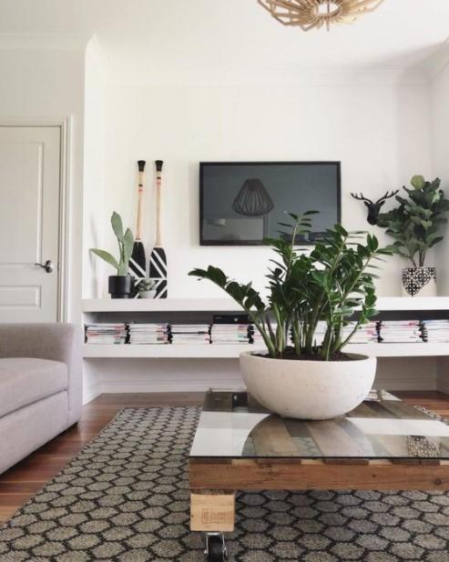 τραπέζι σαλονιού μεγάλο φυτό διακοσμήσεις τραπεζάκι σαλονιού