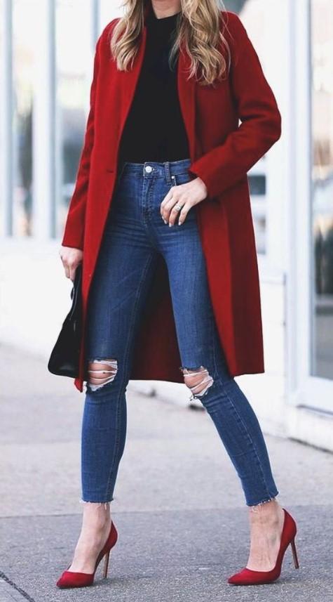 χειμερινο ντύσιμο με τζιν και παλτό