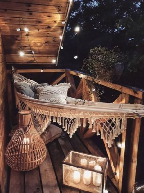 αιώρα λαμπάκια μπαλκόνι καθίσματα μπαλκόνι