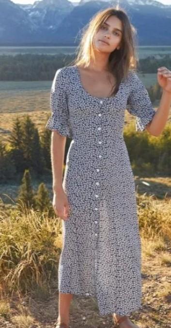 μπόχο φόρεμα με κουμπιά