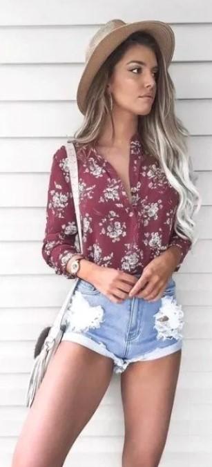 φλοράλ πουκάμισο μπόχο στυλ