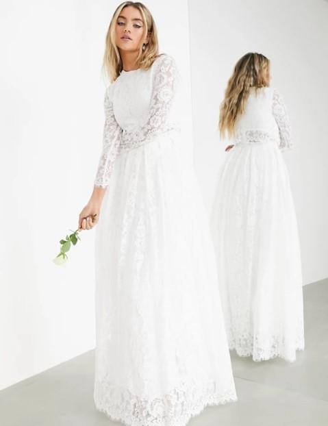 δαντελωτό μάξι φόρεμα λευκό ρομαντικά φορέματα δαντέλα