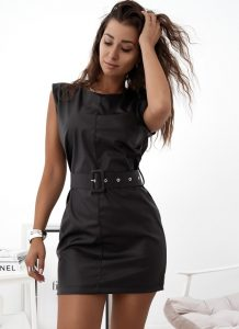 δερμάτινο μίνι φόρεμα