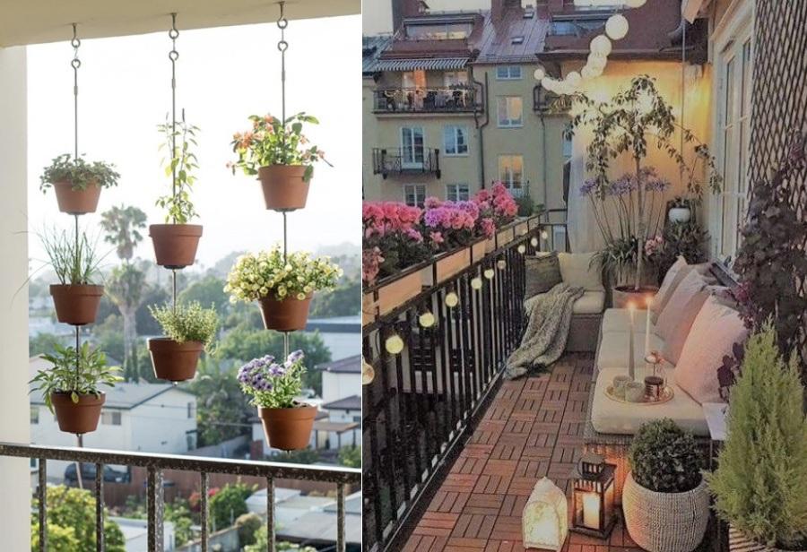 διακόσμηση μπαλκονιού με λουλούδια