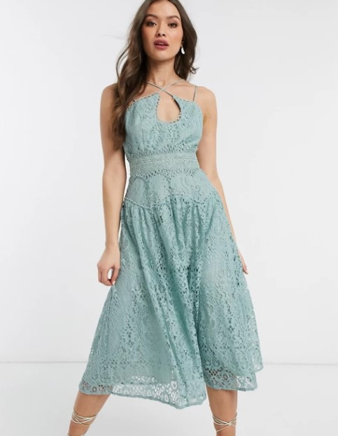 φιστικί φόρεμα ρομαντικά φορέματα δαντέλα