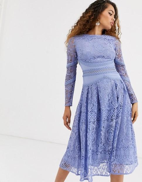 γαλάζιο δαντελωτό φόρεμα