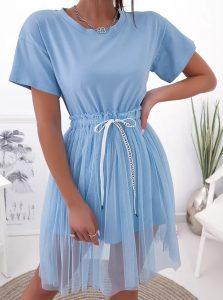 γαλάζιο φόρεμα με τούλι