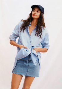 πουκαμισο γαλαζιο γυναικειο mango
