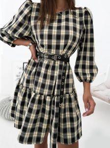 καρό μίνι φόρεμα