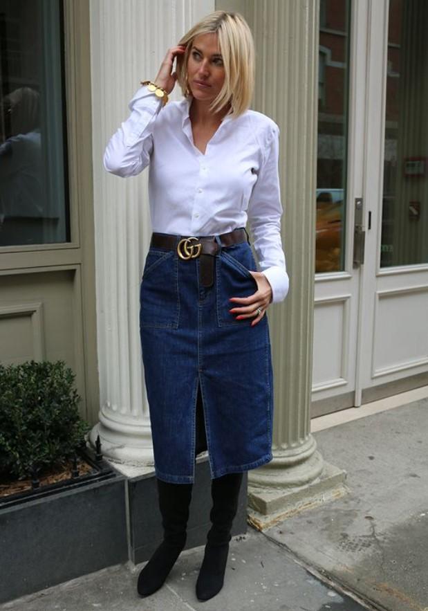 κομψό ντύσιμο με τζιν φούστα