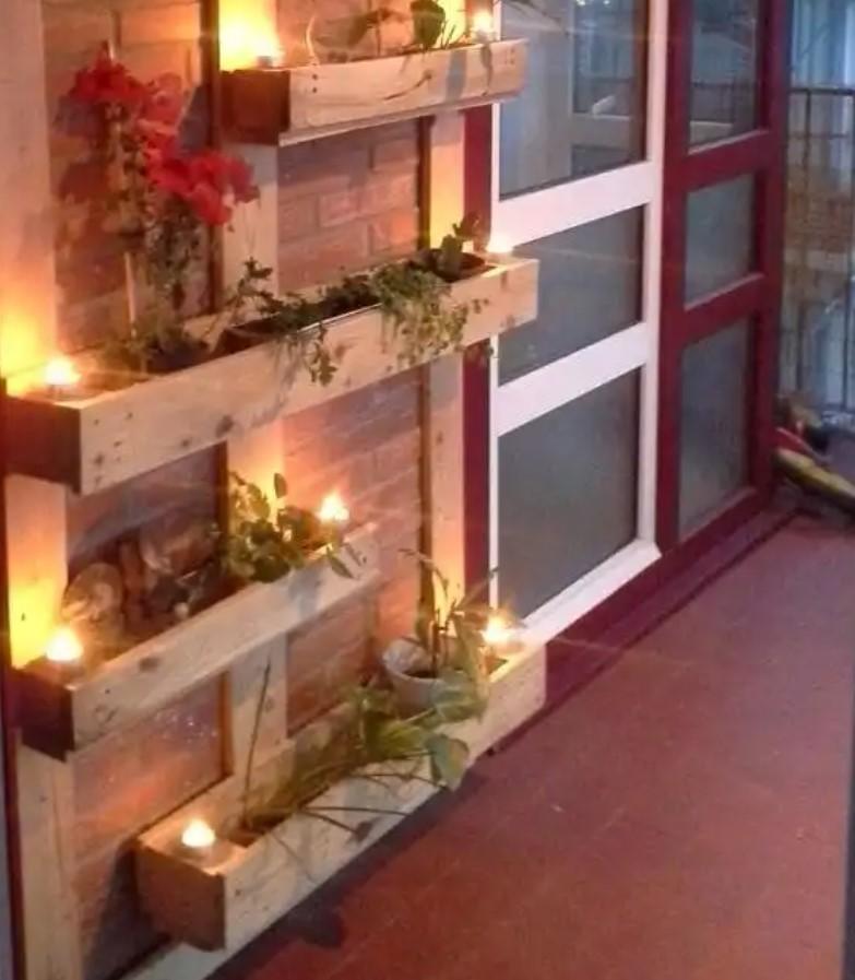 παλέτα λουλούδια μικρό μπαλκόνι