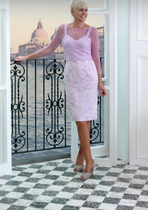 λιλά λευκό μίντι φόρεμα