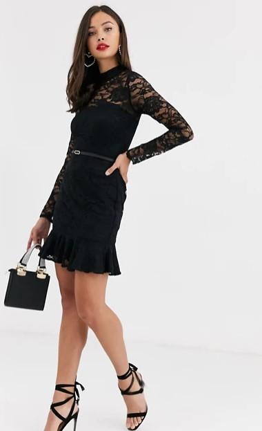 μαύρο φόρεμα δαντέλα μανίκια