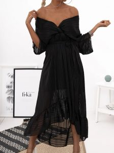 μαύρο φόρεμα με διαφάνειες