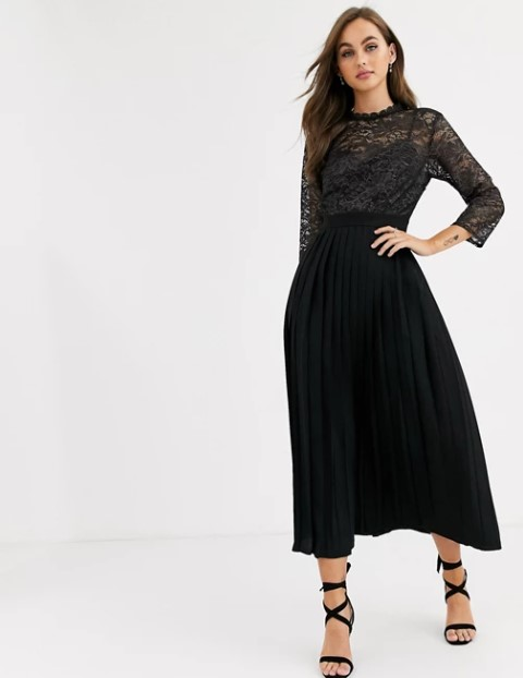 μαύρο φόρεμα πλισέ μακρύ
