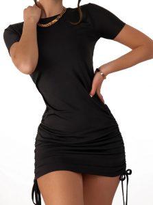 μαύρο mini φόρεμα με σούρες