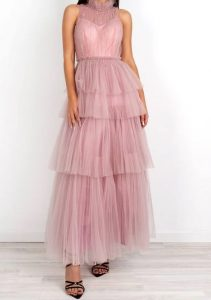 maxi τούλινο φόρεμα