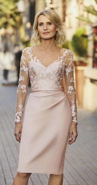 μίντι ροζ φόρεμα μαμά νύφης