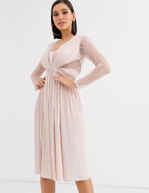 μπεζ φόρεμα δαντέλα μανίκια ρομαντικά φορέματα δαντέλα
