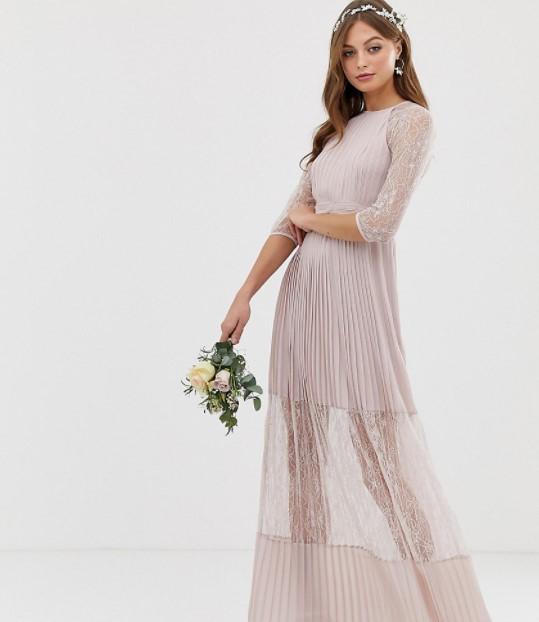 μπεζ μακρύ φόρεμα ρομαντικά φορέματα δαντέλα