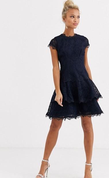 μπλε φόρεμα δαντέλα