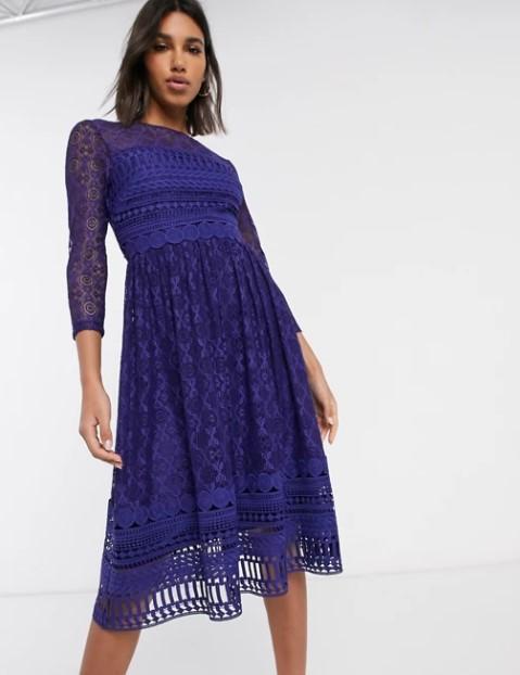 μπλε μίντι φόρεμα δαντέλα
