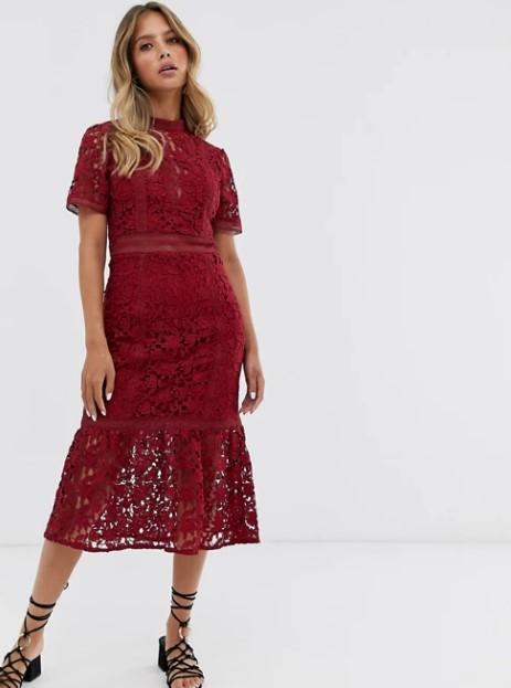 μπορντό φόρεμα μίντι ρομαντικά φορέματα δαντέλα