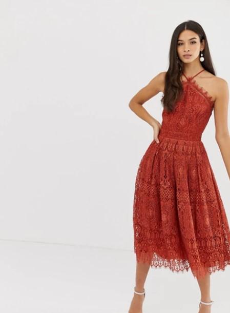 πορτοκαλί φόρεμα δαντελωτό