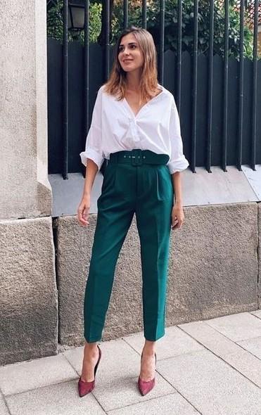 πράσινο παντελόνι πουκάμισο
