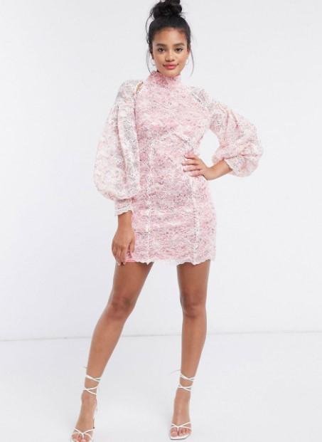 ροζ φόρεμα δαντέλα ρομαντικά φορέματα δαντέλα