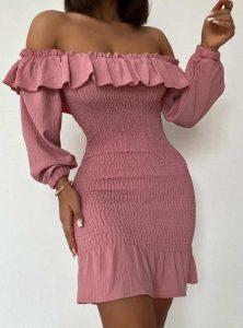 ροζ κολλητό φόρεμα