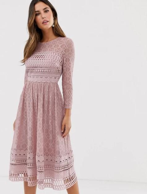 ροζ μίντι φόρεμα ρομαντικά φορέματα δαντέλα
