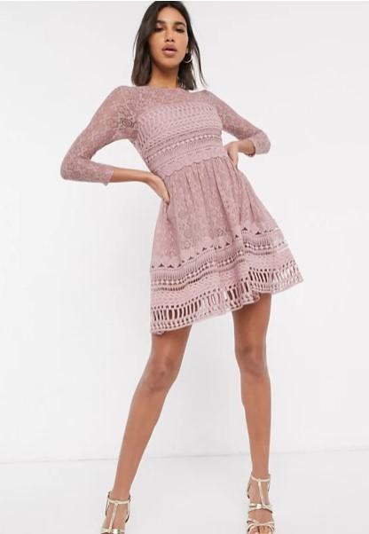 ροζ μίνι φόρεμα μακρυμάνικο