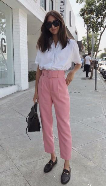 ροζ παντελόνι πουκάμισο