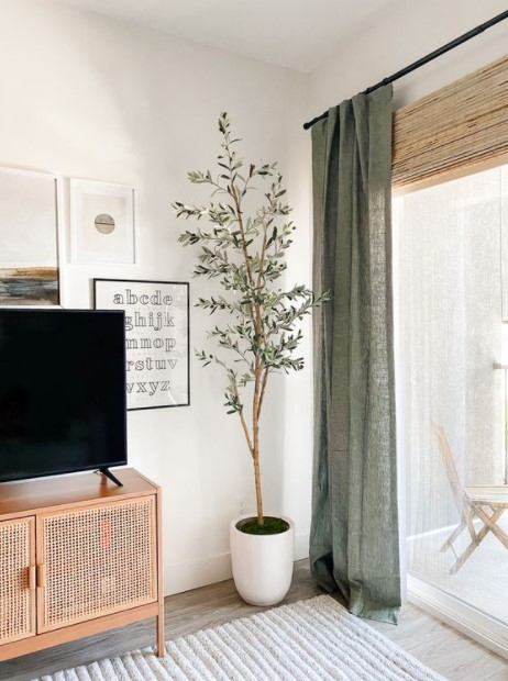σαλόνι πράσινη λινή κουρτίνα τάσεις κουρτίνες