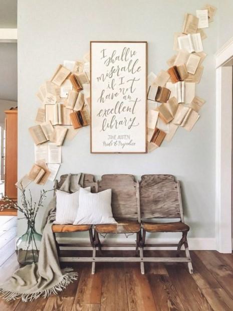 βιβλία τοίχο καθίσματα βιβλία διακόσμηση