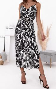 ζεβρέ σατέν φόρεμα