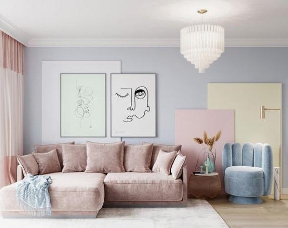 σαλόνι με απαλά χρώματα