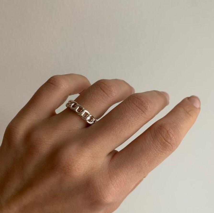 ασημένιο δαχτυλίδι αλυσίδα