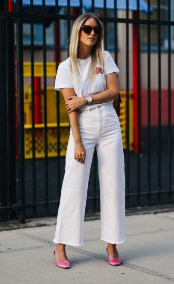 άσπρη ζιπ κιλοτ άσπρο μπλουζάκια