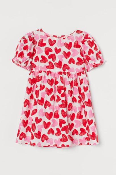 φόρεμα καρδούλες παιδικά ρούχα H&M καλοκαίρι 2021
