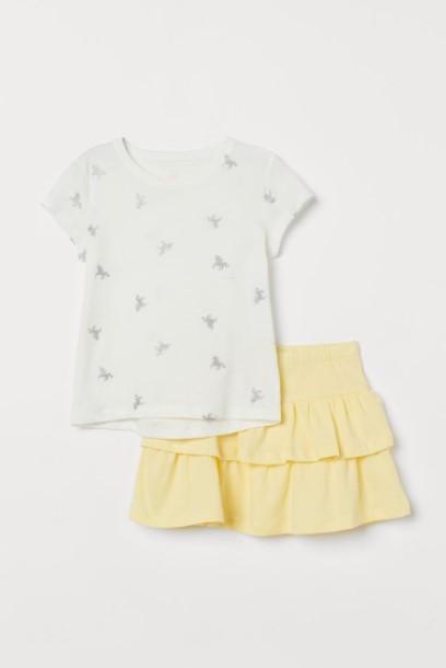 φούστα μπλούζα σετ παιδικά ρούχα H&M καλοκαίρι 2021