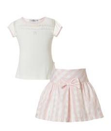 σετ λευκο μπλουζακι ροζ φουστα