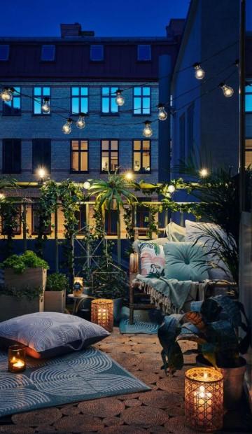 φωτάκια γιρλάντα βεράντα ιδέες φωτισμού μπαλκόνι