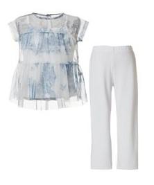 σετ μπλουζακι γαλαζιο ασπρη παντελονα
